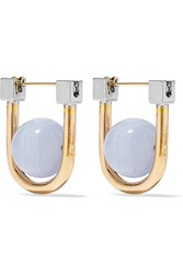 Uribe Camille Gold And Rhodium Plated Agate Earrings Gold Light Blue