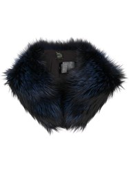 Mr And Mrs Italy Fox Fur Collar Blue