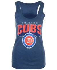 5Th And Ocean Women's Chicago Cubs Big Word Tank Blue