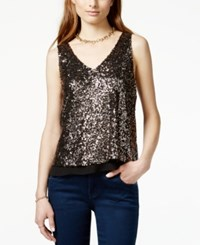 One Clothing Juniors' Sequin Ruffle Hem Tank Top