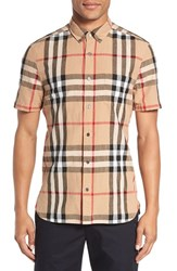 Burberry Men's 'Elfords' Slim Fit Short Sleeve Check Linen And Cotton Sport Shirt