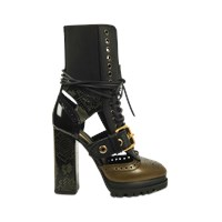 Burberry Leather And Snakeskin Cut Out Platform Boots