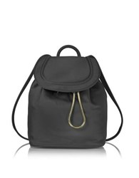 Diane Von Furstenberg Satin Backpack W Drawstring Flap Closure Black