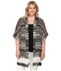 Steve Madden Plus Size Aztec Scallop Fringed Topper Black Women's Clothing