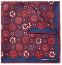 Turnbull And Asser Printed Silk Twill Pocket Square Red