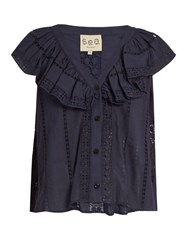 Sea Ruffled Sailor Bib Lace Trimmed Cotton Top Navy