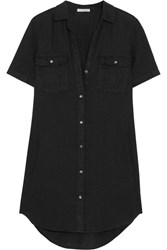 James Perse Utility Linen Shirt Dress Black