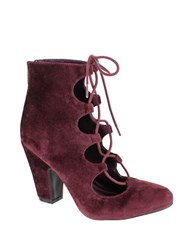 Mia Ellena Velvet Lace Up Ankle Boots Burgundy