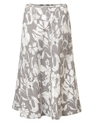 East Linen Etched Floral Skirt Limestone