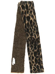 Golden Goose Leopard Knitted Scarf Brown