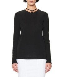 Tom Ford Long Sleeve Tunic W Leather Padlock Embellishment Black