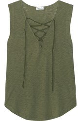 Splendid Lace Up Micro Modal And Stretch Supima Cotton Blend Jersey Top Army Green