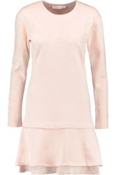 See By Chloe Ruffled Appliqued Cotton Sweater Dress Peach