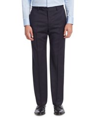 Emporio Armani Flat Front Cotton Trousers Solid Dark