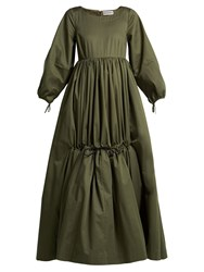 Molly Goddard Astrid Cotton Twill Tiered Maxi Dress Khaki