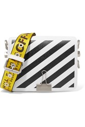 Off White Striped Textured Leather Shoulder Bag One Size White