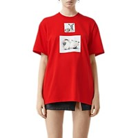 Burberry Porcelain Fawn Cotton T Shirt Red