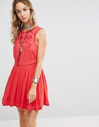 Free People Birds Of A Feather Skater Dress Paradise Coral Red
