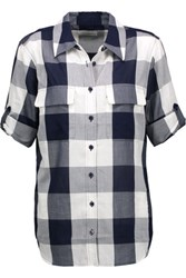 Equipment Slim Signature Checked Cotton Voile Shirt Midnight Blue