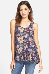 Frenchi R 'Easy' Floral Print Tank Juniors Blue