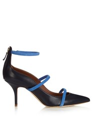Malone Souliers Robyn Point Toe Leather Pumps Navy Multi