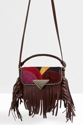 Sara Battaglia Patchwork Mini Flap Fringed Bag Brown