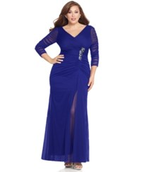 Adrianna Papell Plus Size Three Quarter Sleeve Ruched Gown Neptune