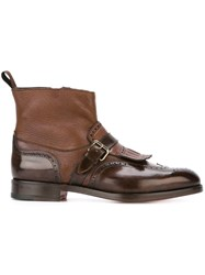 Santoni Buckled Fringed Boots Brown