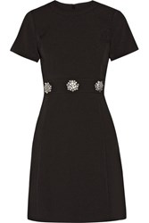 Michael Michael Kors Crystal Embellished Stretch Crepe Mini Dress Black