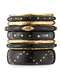 Ashley Pittman Ulinzi Dark Horn Stacking Bangles Set Of 9 Brown