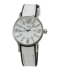 N.O.A. Watches Two Tone Alligator Strap Diamond Dial Watch White Black