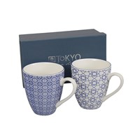 Tokyo Design Studio Nippon Blue Mug Gift Set Set Of 2 Stripe And Flower
