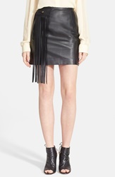 Tamara Mellon Lambskin Leather Miniskirt With Fringe Black