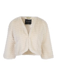 Jane Norman Black Faux Fur Shrug Ivory