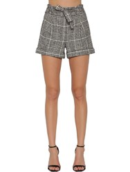 Veronica Beard Belted Check Cotton Shorts Ivory Black