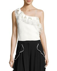 Adam By Adam Lippes Strappy Ruffled Lace Trim Top White