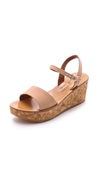 K. Jacques Josy Suede Wedge Sandals Velours Makeup