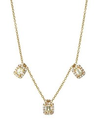 Diana M. Jewels 18K Triple Emerald Cut Diamond Pendant Necklace 1.93Tcw