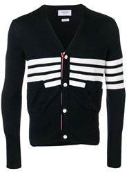 Thom Browne 4 Bar Sailboat Intarsia Cardigan Blue