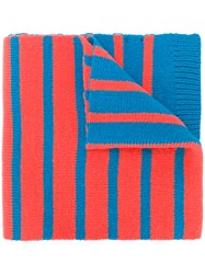 Paul Smith Ps By Two Tone Striped Scarf Lambs Wool Blue