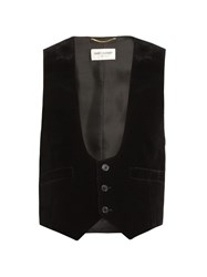 Saint Laurent Velvet And Silk Waistcoat Black