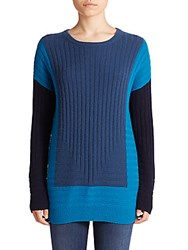 Vince Wool And Cashmere Blend Colorblock Sweater Cloud Black