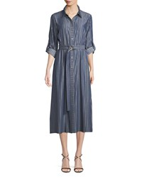 T Tahari Millie Belted Shimmer Striped Chambray Shirtdress Navy