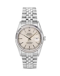 Pre Owned Rolex Stainless Steel And 18K White Gold Datejust Watch With Fluted Bezel And Silver Dial 36Mm White Silver