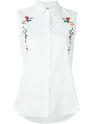 Steve J And Yoni P Floral Embroidery Sleeveless Shirt White
