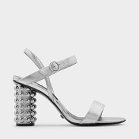 Charles And Keith Ankle Strap Leather Sandals Silver