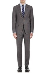 Isaia Men's Herringbone Gregory Two Button Suit Grey