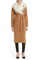 Ted Baker London Colour By Numbers Alcaza Wool Coat With Removable Faux Fur Collar Tan