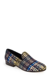 Cb Made In Italy Tweed Smoking Loafer Women Blue
