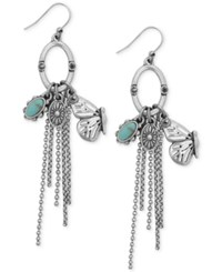 Lucky Brand Silver Tone Butterfly And Stone Fringe Drop Earrings